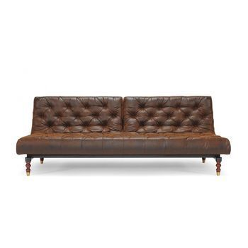 Innovation - Oldschool Retro Klappsofa - vintage-braun/Kunstleder 461 Brown Vintage/Gestell schwarz/Beine Holz dunkel/Liegefläche 115x210cm