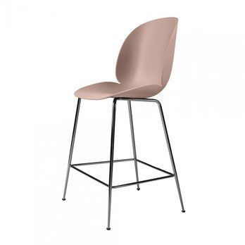 Gubi - Beetle Counter Chair Barhocker Chrom 108cm - süßes pink/Sitz Polypropylen-Kunststoff/BxHxT 53,5x108x58cm/Gestell Schwarzes Chrom