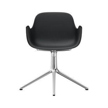 Normann Copenhagen - Form Drehstuhl mit Armlehnen 4L Alu - schwarz/Gestell aluminium/H x B x T: 80 x 70,5 x 70,5cm