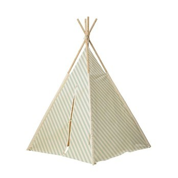 Bloomingville - Children's Tipi Kids Tent - green/wood slats/LxWxH 130x130x160cm