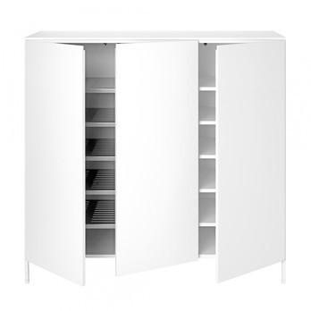 Schönbuch - Urban 1073 Kommode mit Schuhablage - schneeweiß/lackiert/3 Türen/5 Fachböden/5 Schuhböden/120x116x39.1cm