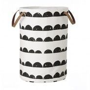 ferm LIVING - Half Moon Laundry Basket - black/white/Ø40cm