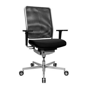Wagner - W1 Low Bürostuhl - schwarz/mit Armlehne/Sternfußgestell Stahl mattverchromt/mit Rollen für Hartböden