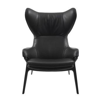 Cassina - P22 Patrick Norguet Ohrensessel - schwarz/Leder Scozia 13X606/Gestell matt schwarz RAL9005/79x112x87cm