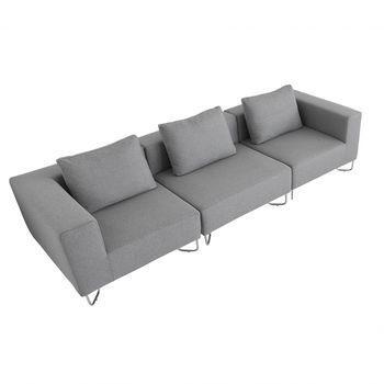 Softline - Lotus Sofa Dreisitzer - grau/inkl. 3 Kissen/Stoff Filz 620/294x98cm
