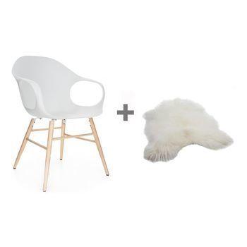 Kristalia - Aktionsset Elephant Armlehnstuhl + Fell - weiß/Gestell buche/Island Lammfell