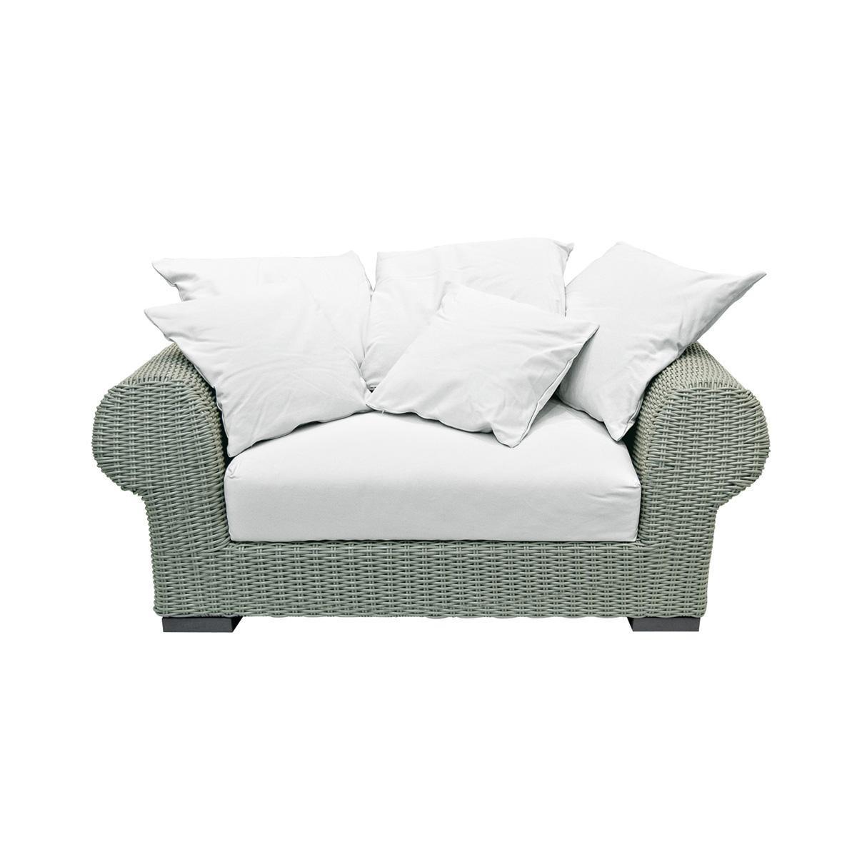 Gervasoni Inout 601 Poly Rattan Outdoor Sofa 166x107 Cm Green Seat Cushion