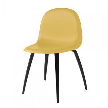Gubi - Gubi 3D Dining Chair Stuhl Buchengestell schwarz - Venezianisches Gold/Sitzfläche HiRek Kunststoff/BxHxT 52x82x53,5cm/Gestell schwarze Buche