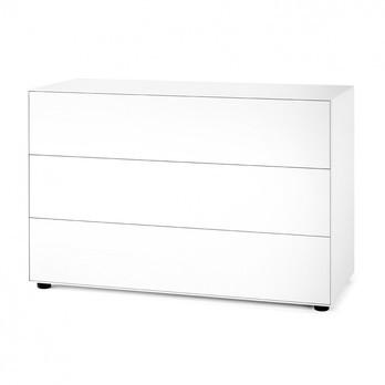 Piure - Nex Pur Box Schubkastenbox/Kommode 120x77.5cm - weiß/MDF matt lackiert/mit Gleitfüße/3 Schubladen