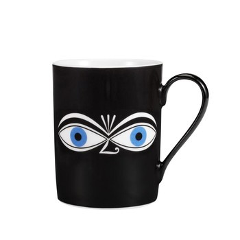 Vitra - Coffee Mug Eyes Blue Kaffeetasse - schwarz/weiß/blau/0.3l/H 9.5cm/Ø 7.5cm
