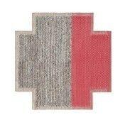 GAN - Mangas Space Square Teppich - koralrot/grau geflochten/100% neue Wolle/von Hand gewebt/160x160cm