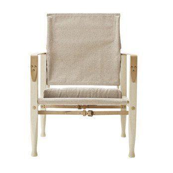 Carl Hansen - Carl Hansen KK4700 Safari Chair Lounge Stuhl - natur/Stoff Canvas/Gestell Esche geölt/mit Kissen