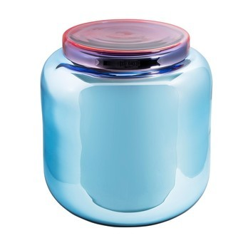 pulpo - Container Beistelltisch  - hellblau/versilbert/Abdeckung rot/H 40cm / Ø 39cm