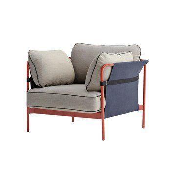 HAY - Can Sessel Gestell warmes rot - hellgrau/Stoff Surface 420/97x82x89.5cm//Rück-/Seitenteil Canvas blau