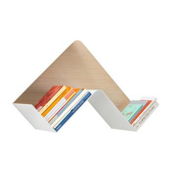 B-Line - Fishbone Wandregal - weiß/natur/45- und 90-Grad-Winkel/LxBxH 68.3x25.3x45.4cm