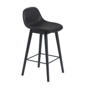 Muuto - Fiber Barhocker mit Rückenlehne Holzgestell 65cm - schwarz/Sitzfläche Leder/BxHxT 42,5x87,5x44,5cm/Gestell Holz