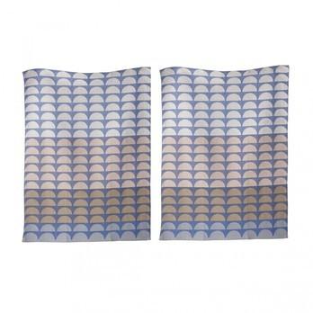 ferm LIVING - Bridges Geschirrtuch 2er-Set - blau/waschbar bei 40°C/70x50cm