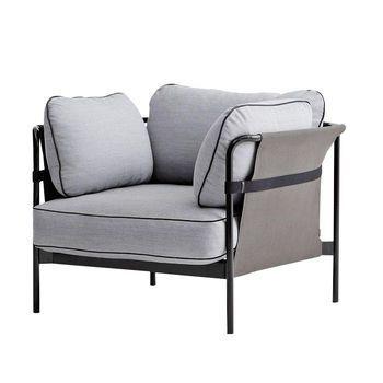 HAY - Can Sessel - hellgrau/Stoff Surface 120/97x82x89.5cm/Gestell schwarz/Rück-/Seitenteil Canvas grau