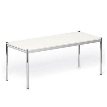 USM Haller - USM Tisch 200x100cm - reinweiß/MDF/Gestell Stahl verchromt