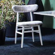Gervasoni - Brick 221 Stuhl - grau/Gestell weiß/Sitz und Rücken gepolstert/Stoff Iuta Grigio/55x50x79cm