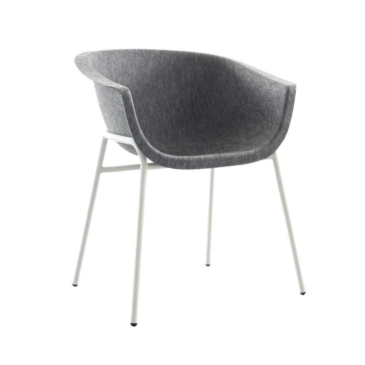 Faszinierend Armlehnstuhl Grau Referenz Von Conmoto - Chairman - Grau/formfleece/gestell Stahlrohr Weiß