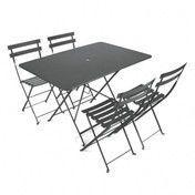 Fermob - Bistro Garten-Set 4 Stühle - gewittergrau/Tisch 117x77cm