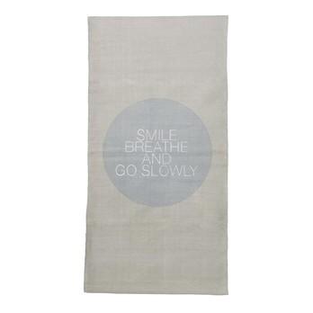 Bloomingville - Smile Breathe Go Slowly Teppich 120x60cm - natur/hellblau/120x60cm