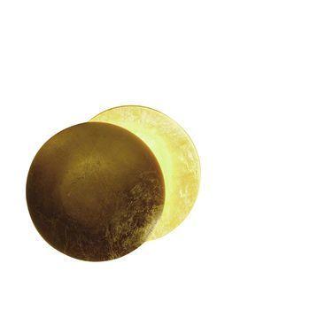 Catellani & Smith - Lederam W 25 Wandleuchte - gold/Gestell weiß/Lichtfarbe warm weiß/ø25cm/extern dimmbar