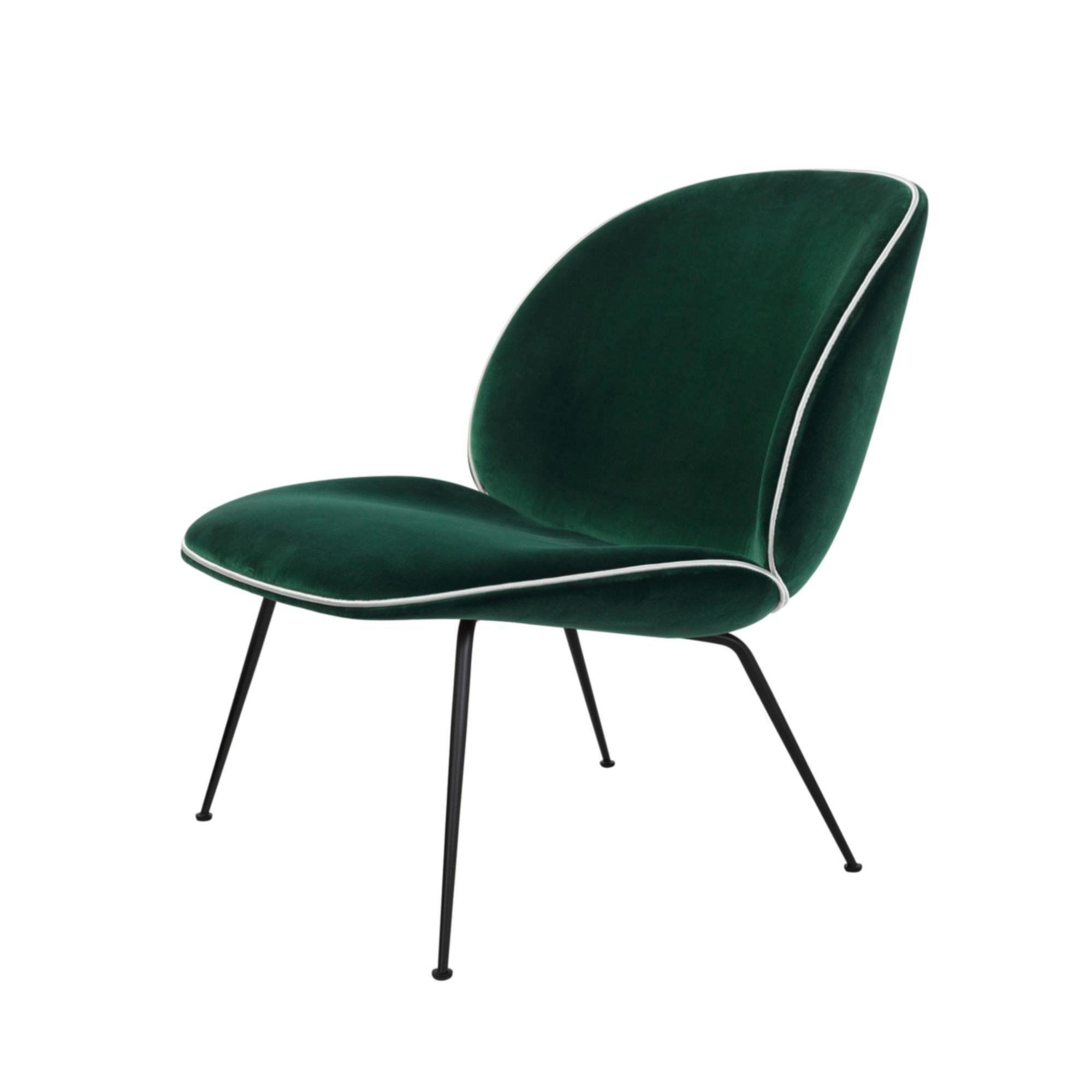 Gubi   Beetle Lounge Chair With Velvet And Black Base   Dark Green/Velvet  Velluto