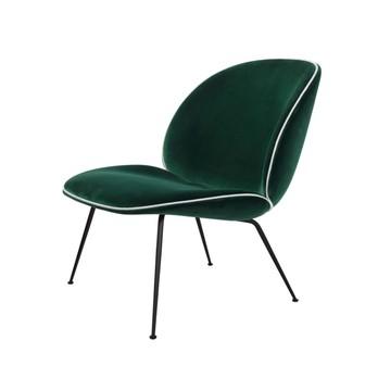 Gubi - Beetle Lounge Sessel mit Samt und Gestell Schwarz - dunkelgrün/Samt Velluto G075/787/BxHxT 63x80x72cm/Biese in Luce 53/ Gestell schwarz