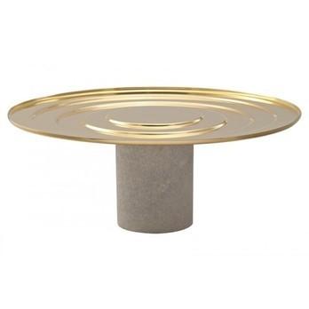 Tom Dixon - Stone Cake Stand Tortenplatte hoch - messing/Fuß Morwad Marmor weiß/Ø 29cm / H: 11cm