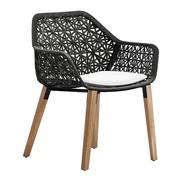 Kettal - Chaise de jardin + accoudoirs Maia structure teck