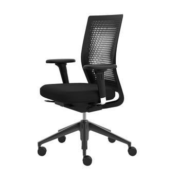 Vitra - ID Air Bürostuhl mit 2D-Armlehnen - schwarz/Stoff Plano nero/Gestell basic dark schwarz/weiche Rollen