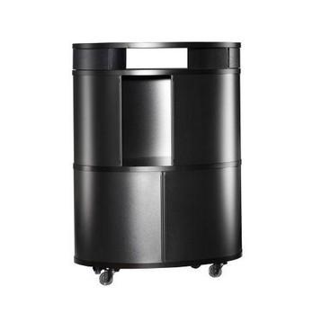 Wogg - Liva Ellipsetower/Ellipsen-Turm 89 Black Edition - schwarz/Abdeckung schwarz Esche/LxBxH 50x65x89cm