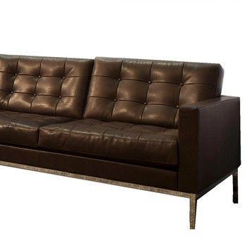 Knoll International - Florence Knoll Relax 2-Sitzer Sofa  - dunkelbraun/Venezia Leather 05/Gestell chrom/mit Knöpfen