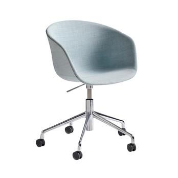HAY - About a Chair Armlehnstuhl höhenverstellbar - hellgrau/Stoff Remix 823/Gestell aluminium glänzend/mit weichen Rollen/ H: 74,5-87,5cm