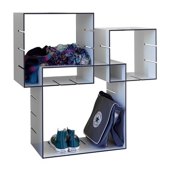 müller möbelwerkstätten - Konnex Wandregal Set 1 - weiß/Kanten schwarz/Wandhalterung/Box 1: 31.2x31.2x20cm/Box 2: 41.4x41.4x20cm/Box 3: 51.6x51.6x31.2cm