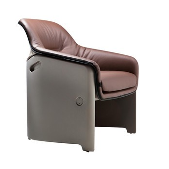 Plank - Avus Sessel - Leder braun/Gestell grau matt