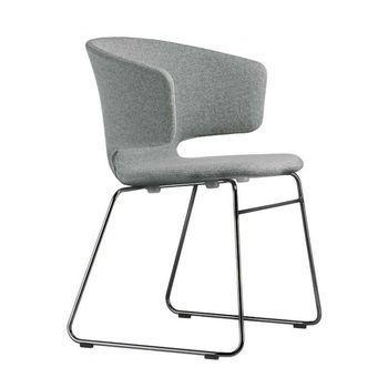 Alias - 504 Taormina Armchair with black Skids - light grey/fabric/frame lacquered black
