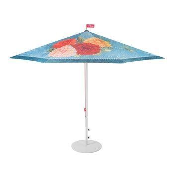 - Parasolasido Set Sonnenschirm + Ständer - hellblau/gemustert/Ø350cm / H 265cm/Schirmständer hellgrau/Ø70cm/25kg