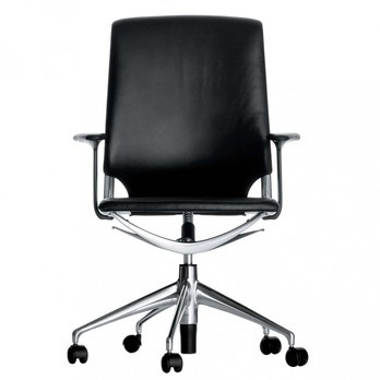 Vitra - Meda Chair Bürostuhl - Sitz schwarz Leder/Rücken schwarz Leder/Gestell Aluminium/mit weich gebremsten Rollen/höhenverstellbar von 98,5 bis 111 cm