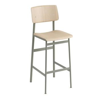 Muuto - Loft Barhocker 75cm - staubiges grün/eiche/Sitzfläche Eiche/BxHxT 42,5x108,5x49cm/Gestell Stahl pulverbeschichtet