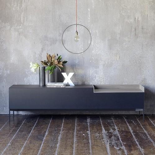 MDF Italia - Inmotion Sideboard 203x50x48cm - schwarz/Esche/offenes Fach Holz natur grau 85cm Breite