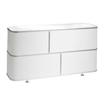 Wogg - Liva Classicboard 79 - weiß/Abdeckung in Melamin weiß/H x B x T: 79 x 148 x 37cm