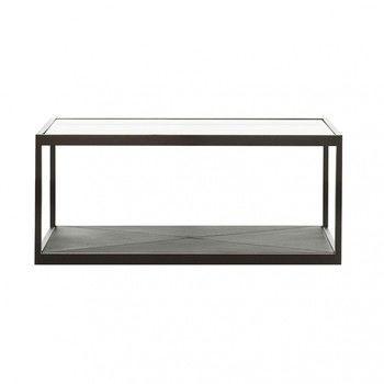 - Monaco Beistelltisch 100x50  - schwarz/Tischplatte in Glas/L x B x H: 100 x 50 x 35cm