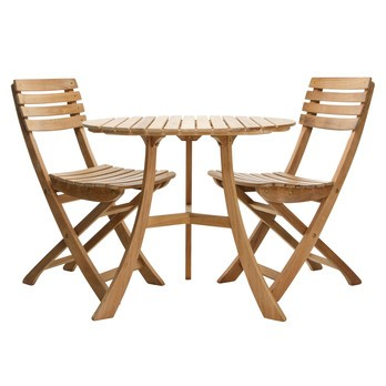 Skagerak - 1 Vendia Table + 2 Vendia Garden Chairs - teak/table Ø 75cm