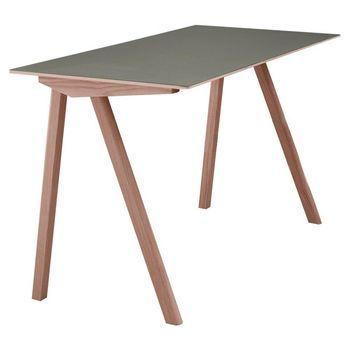 HAY - Copenhague CPH90 Schreibtisch - eiche/Tischplatte grau/lackiert/130x65x74cm/Linoleum Tischplatte