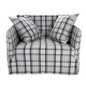 Gervasoni - Ghost 09 Lounge Armchair - grey chequered/fabric Scozia Grau/incl. 2 Dracon/down back cushions