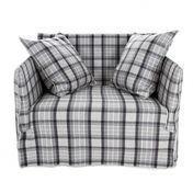 Gervasoni - Ghost 09 Lounge Sessel - grau kariert/Stoff Loden Scozia Grau/Inkl. 2 Rückenkissen Dracon/Daunen