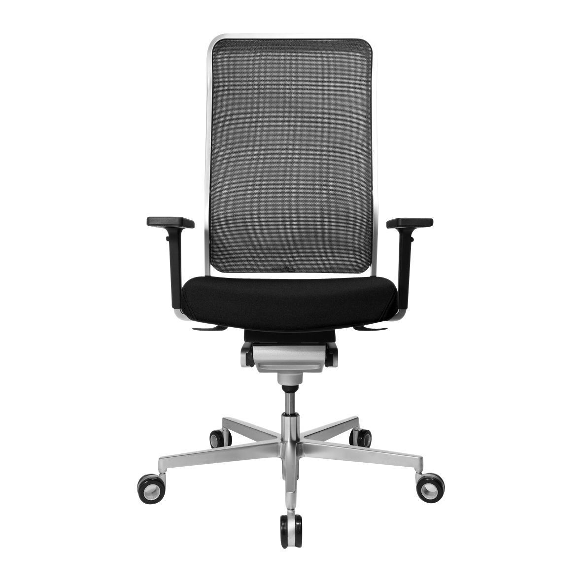 High office chair - Wagner W1 High Office Chair Black With Armrest Star Base Matt Chrome